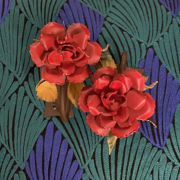 Anthropologie Metal Flower Curtain Tie Backs